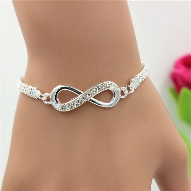 Silver Plated Infinity Bracelet Zinc Alloy Rhinestone Chain Men's Women's Bracelet Fashion Jewelry