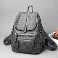 Kajie Soft Leather Women Backpack Fashion Travel Backpacks Luxury Sac A Dos School Backpacks For Girls Black Large Mochilas