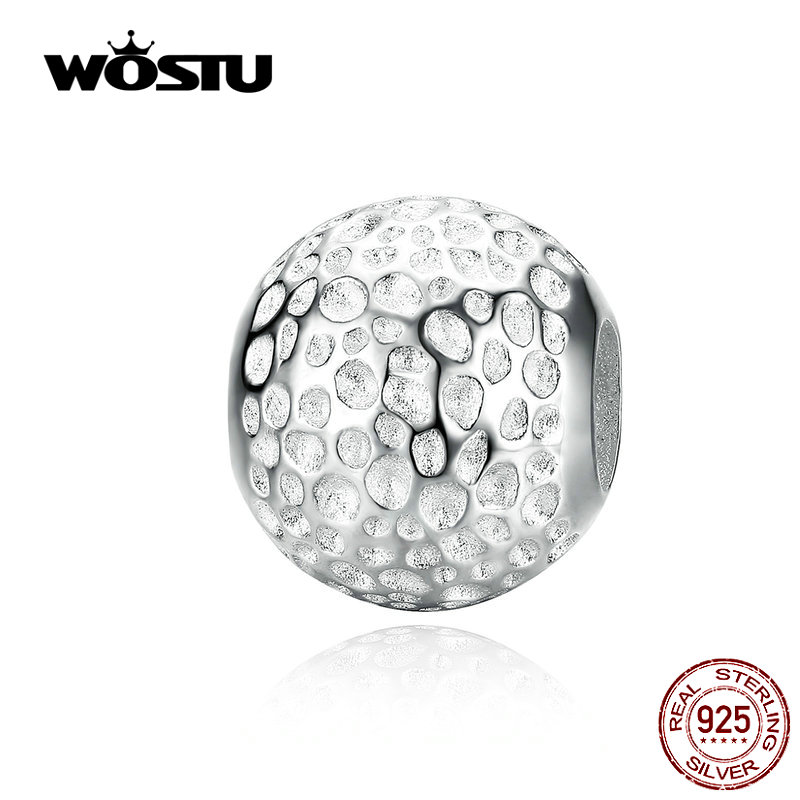 WOSTU 100% 925 Sterling Silver Radiant Round Charm Fit Original Bracelet Beads Brand Fashion Jewelry Gift CQC1245