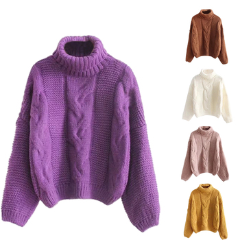 violet color winter women trendy basic sweater