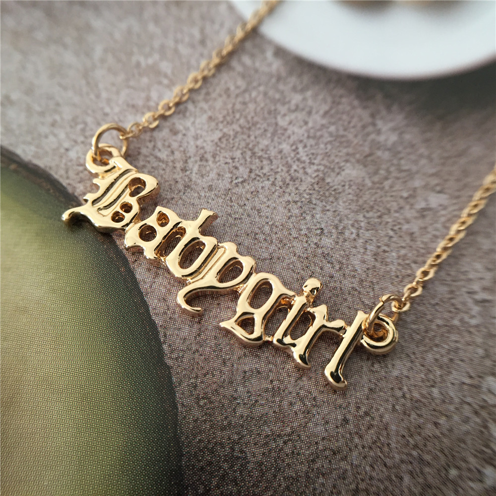 High Quality 2019 New Fashion Jewelry Gold Babygirl Letter Necklace Name Pendants Lovely Gift for the Mom 3