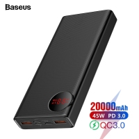 Baseus 20000mAh Quick Charge 3.0 Power Bank USB PD 45W Fast 20000 Powerbank For iPhone Xiaomi mi Huawei External Battery Charger