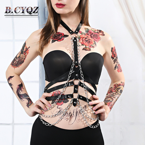 Image 1 - Leather Metal Body Chain Bralete Top Cage Body Harness Punk Gothic Garter Strap Fetish Festival Dance Rave Body Harness Women