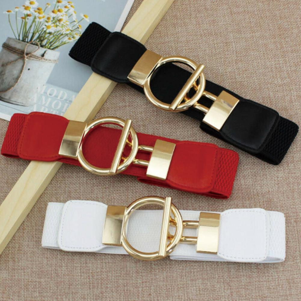 Lady Women Waist Belt Fashion Gold Wide Narrow Stretch Elastic Waist Dress Belt Party Gift