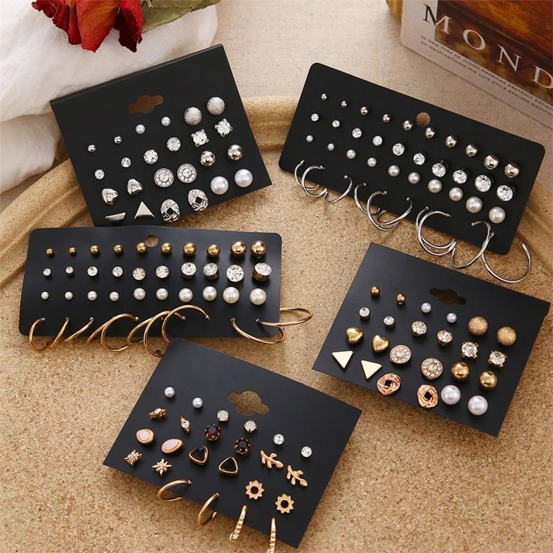FNIO Women's Earrings Set Pearl Earrings For Women Bohemian Fashion Jewelry 2020 Geometric Crystal Heart Stud Earrings 2
