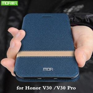 Image 1 - לכבוד V30 מקרה Huawei V30 פרו כיסוי עבור V30Pro דיור MOFi סיליקון TPU עור מפוצל ספר Stand Folio