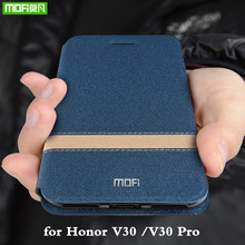 Voor Honor V30 Case Huawei V30 Pro Cover voor V30Pro Behuizing MOFi Siliconen TPU PU Leather Book Stand Folio