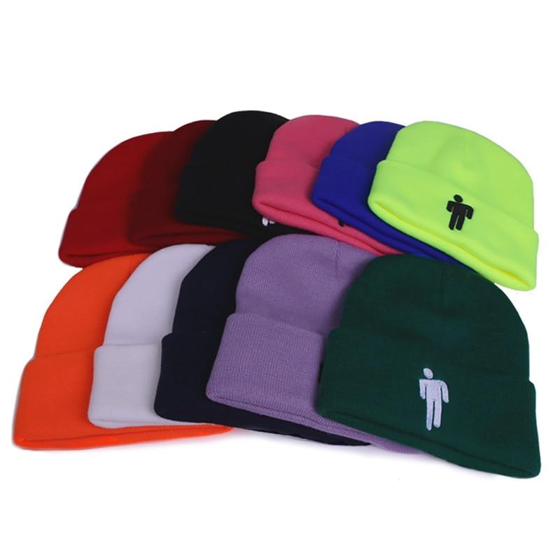 Billie Eilish Beanie Hat Women Men Knitted Hats Warm Winter Hats Hip-hop Outdoor Casual Sport Cap Bonnet 12 Colors