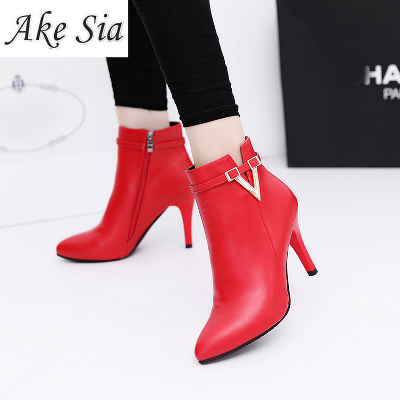 2019 Winter Europe and America ladies high heel boots leather slip solid color pointed side zipper Chelsea boots Short boots in Ankle Boots from Shoes