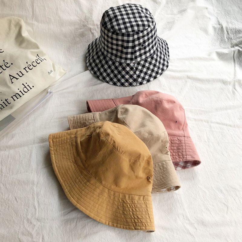 Japanese Women Girls Summer Reversible Bucket Hat Sweet Plaid Check Printed Sunscreen Packable Casual Lounge Fisherman Cap