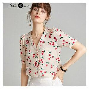 Camisa de seda estampada cereza de moda 2020 nuevo estilo de moda cuello pico Puff manga suelta Mujer