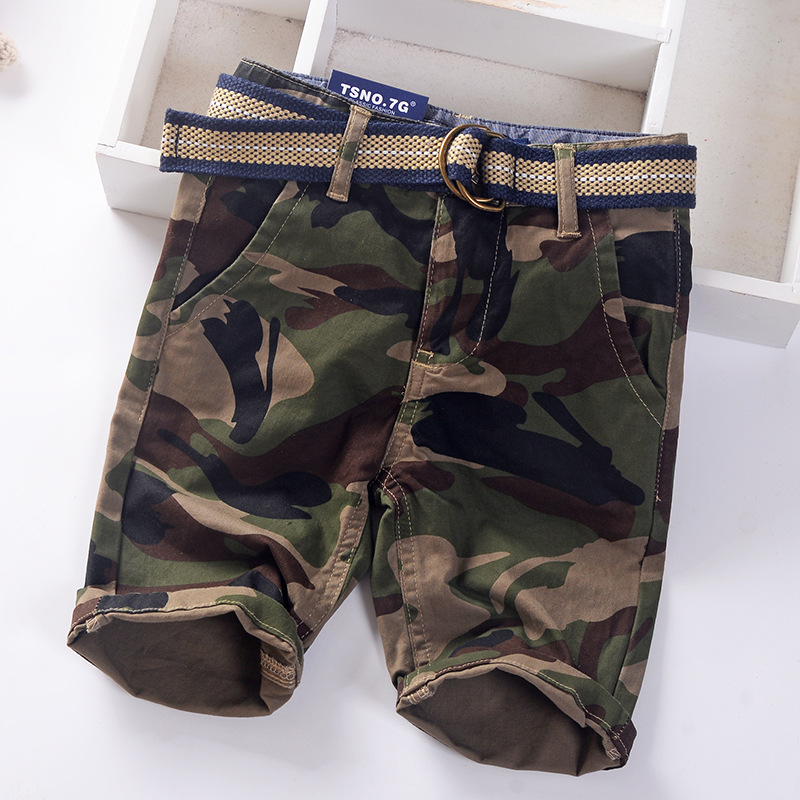 Camou boys summer shorts straight cotton kids pants trousers with belt quality children's clothing