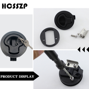 """Image 4 - 4 Pcs 2"""" Plastic Flush Pull Slam Latches Lift Ring Handle Marine Boat Round Deck Lock with Key RV Boat Yacht Parts Accessories"""