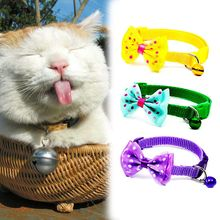 2019 Fashion Puppy Adjustable Bowknot Necktie Dog Cat Pet Collar  Candy Color Nylon Bell Kitten Bow Tie Pets Supplies
