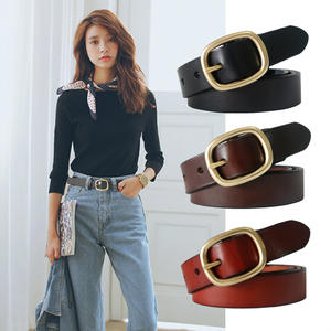 DINISITON Buckle-Strap Jeans -S-Belt Gold-Pin Female Vintage Genuine-Leather Women New