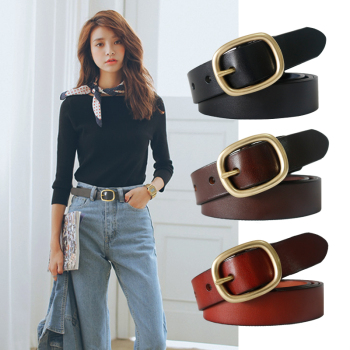 DINISITON New Women's Belt Genuine Leather Belts For Women Female Gold Pin Buckle Strap Fancy Vintage for Jeans Dropshipping