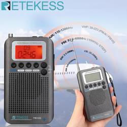 Retekess TR105 Portable AIR Band FM/AM/SW/CB/AIR/VHF Digital Tuning Radio with Timer ON/OFF Clock Function