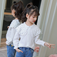 2019 Cotton White Girls Blouses Solid Shirts for Girls Long Sleeve Kids baby Shirts baby clothes Spring Autumn children clothing