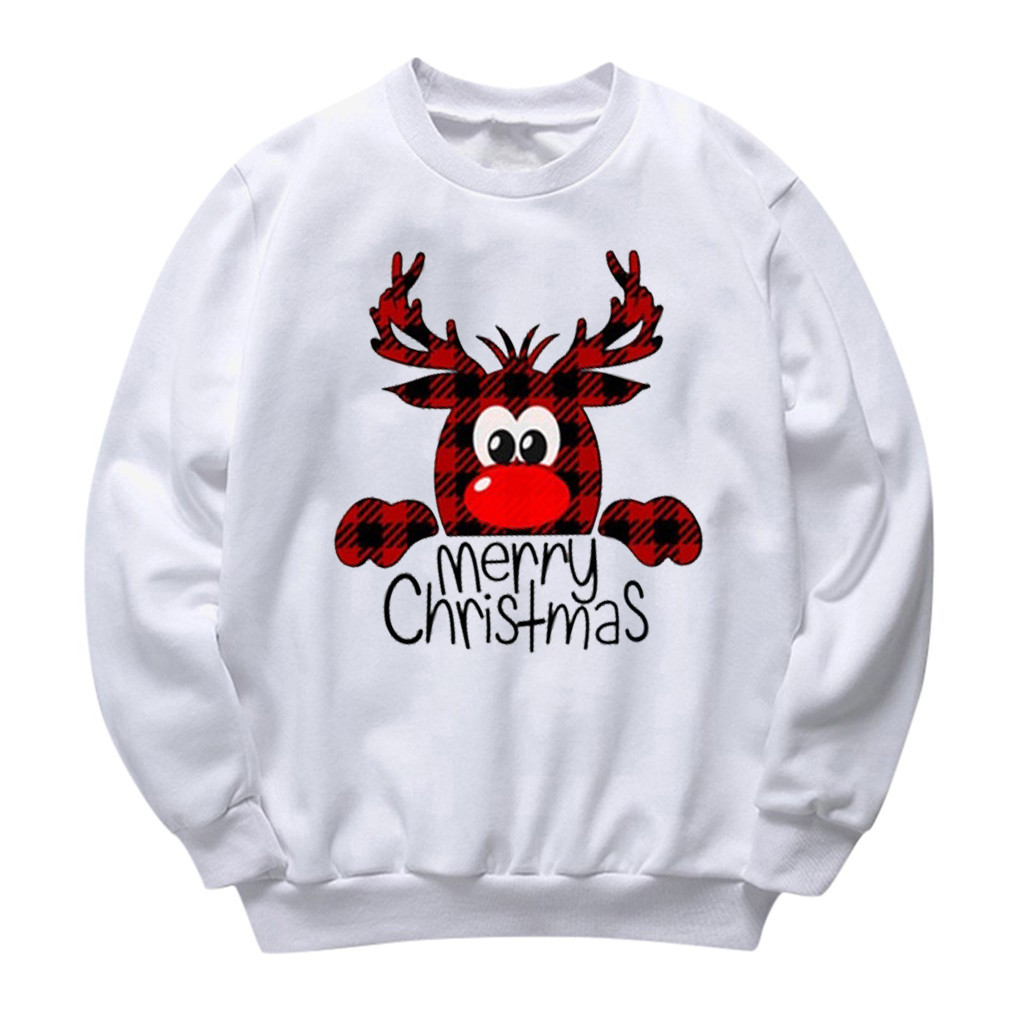 Women Printing Christmas Deer Round Neck Long Sleeve Casual Blouse Sweatshirt худи женские New Arrival