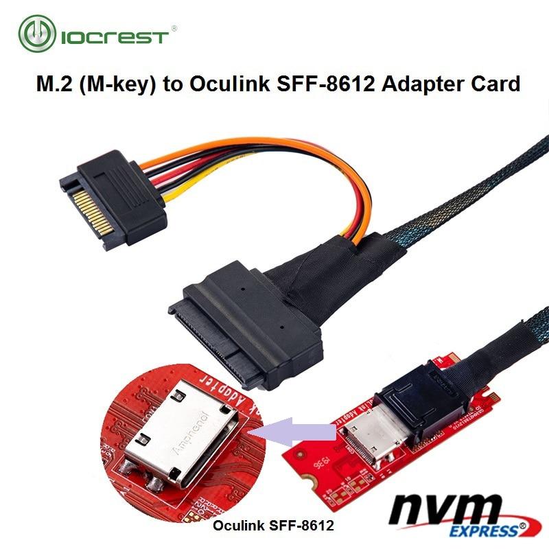 Adaptador de Anfitrião para Pcie 3.0 para Oculink M-chave Pci-e Nvme Ssd M.2 Sff-8612