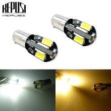цена на 2pcs BA9S W6W 5730 8 SMD LED Bulb Auto Lamp Wedge Marker LED Car Indicator Signal Light Parking Reading Lamp Yellow Amber Warm W