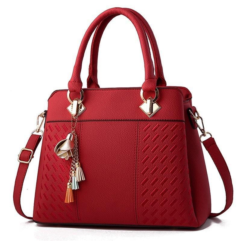 Fashion Women Handbags Tassel PU Leather Totes Bag Top-handle Embroidery Crossbody Bag Shoulder Bag Lady Simple Style HandBags