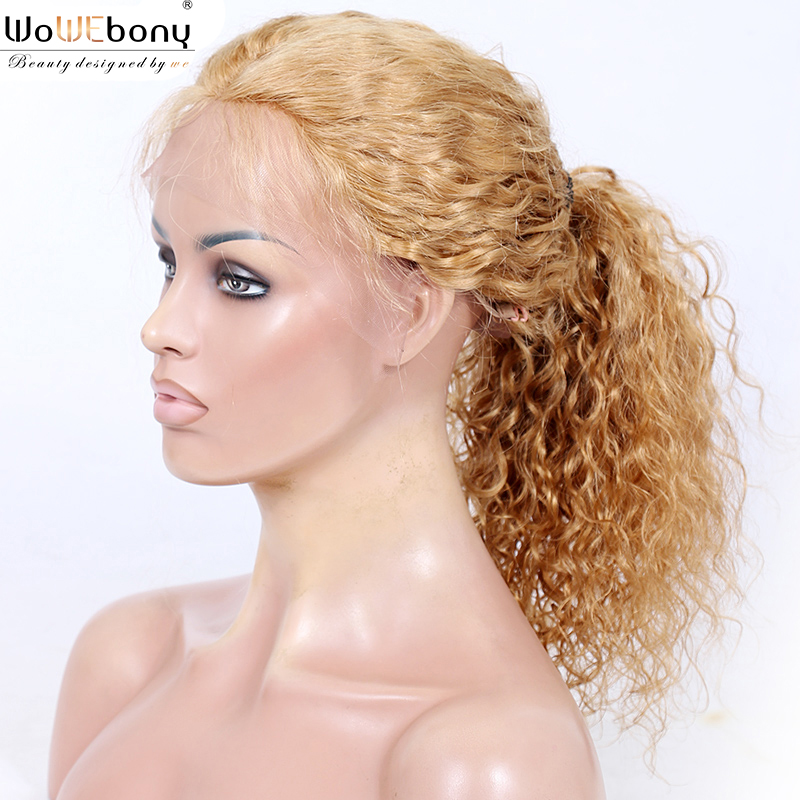 370 Lace Frontal Wig Water Wave Honey Blonde 360+ Lace Frontal Wig 150 Density Brazilian Remy Pre Plucked 360 Wig WoWEbony