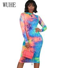 WUHE New Fashion Tie Dyeing Vintage Bandage Bodycon Knee-length Dress Long Sleeve O-neck Printing Hollow Out Slim Femme