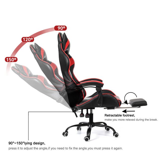 Office Gaming Chair WCG Gaming Chair Home Internet Cafe Gamer Chair Ergonomic Computer Office Chair Swivel Lifting LyingFootrest 6