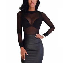 JODIMITTY 2019 Sexy Women T-shirt Through Transparent Mesh Stand Neck Long Sleev