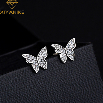 XIYANIKE 925 Sterling Silver Prevent Allergy Crystal Stud Earrings Fashion Butterfly Ear Jewelry for Women Party Accessories xiyanike prevent allergy 925 sterling silver stud earrings trendy elegant butterfly zircon party accessories creative jewelry