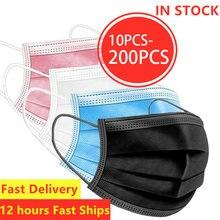 10/50/100/200 pièces masques jetables Non-tissé masques 3 couches pli filtre Anti poussière respirant adulte bouche masque noir en STOCK