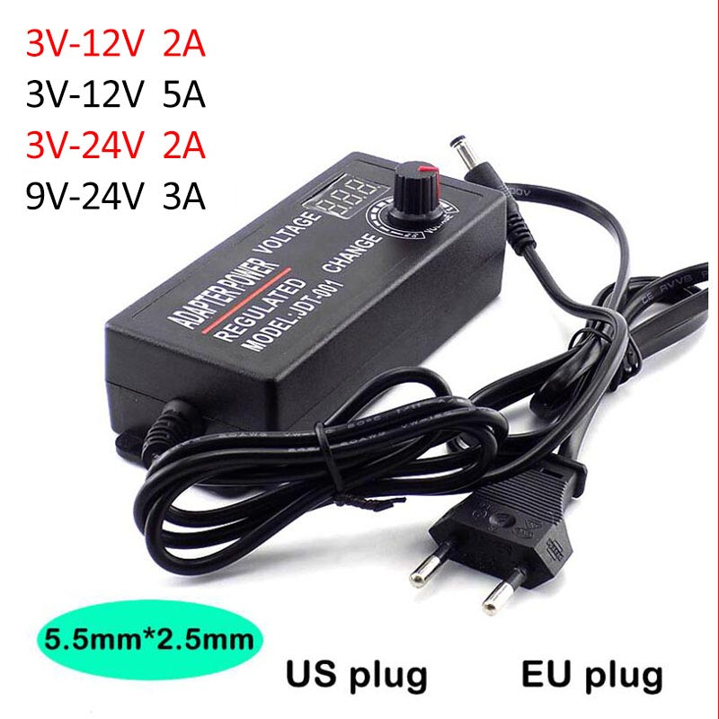 Power <font><b>Adapter</b></font> Adjustable Supply AC 100-220V to DC <font><b>3V</b></font>-12V <font><b>3V</b></font>-24V 9V-24V 2A 3A 5A Plug LED Driver Display Adaptor LED Strip Light image