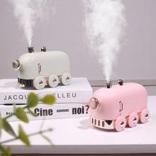 300ml קולי אדים רטרו מיני רכבת USB ארומה אוויר מפזר חיוני שמן יצרנית ערפל Fogger עם צבע LED אור