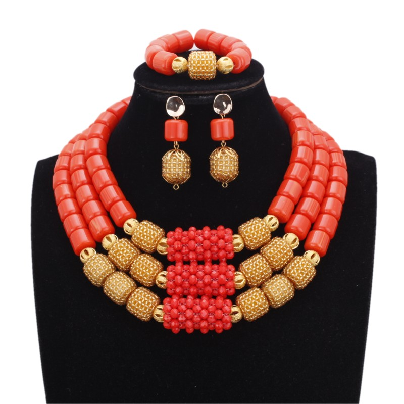 Dudo Store African Jewelry Set New Designs 3 Layers Artificial Coral Beads Jewellery Set 2019 With Gold Beaded Balls 3 Pieces