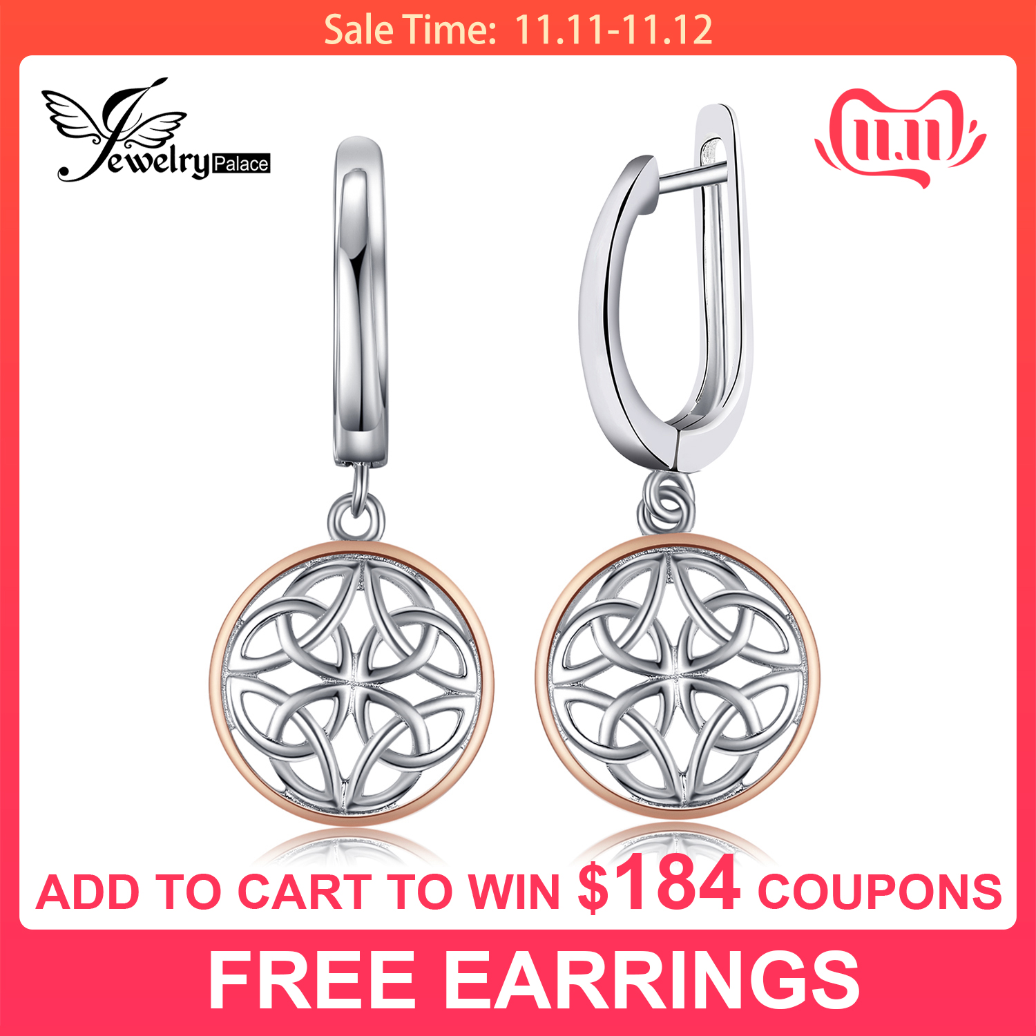 JewelryPalace Celtic Knot Dangle Drop Earrings 925 Sterling Silver For Women Korean Fashion Jewelry 2019