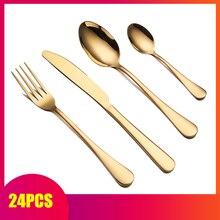 Spklifey service de vaisselle en or couverts 24 pièces cuillère en or fourchettes couteaux cuillères couverts en acier inoxydable