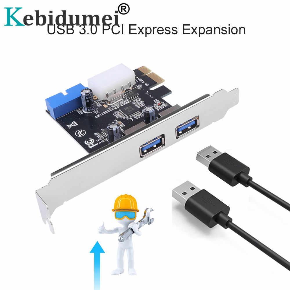Adaptador de tarjeta de expansión USB 3,0 PCI-E 2 puertos externos USB3.0 Hub interno 19pin encabezado PCI-E tarjeta 4pin IDE conector de alimentación