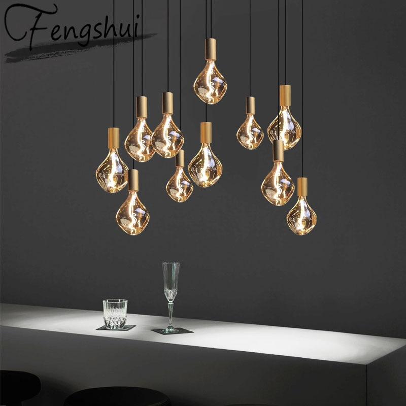 Modern Industrial LED Glass Pendant Lights Lighting Tungsten Wick Pendant Lamp Living Room Bedroom Home Cafe Decor Light Fixture