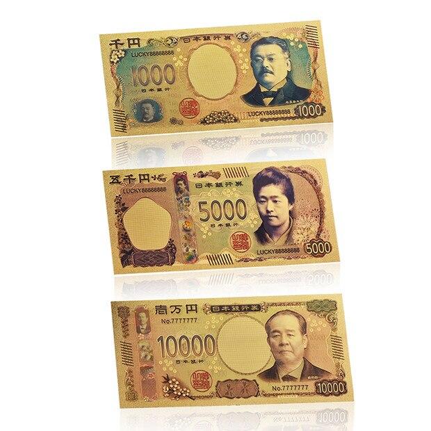 Venta al por mayor 5 unids/lote dinero falso japonés billetes de oro con marco COA Japón billete Banco nota regalo artículo Dropshipping