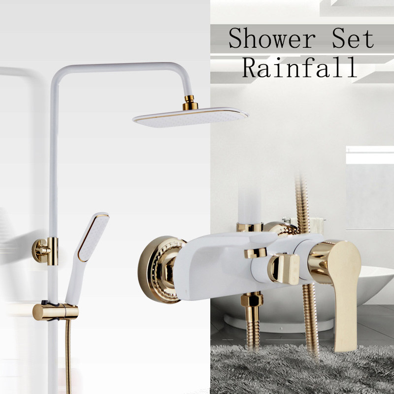 Wall Mounted Shower Faucet White Luxury European Style Gold Rainfall Shower Set Mixer Faucets Bath Rain Shower Heads System