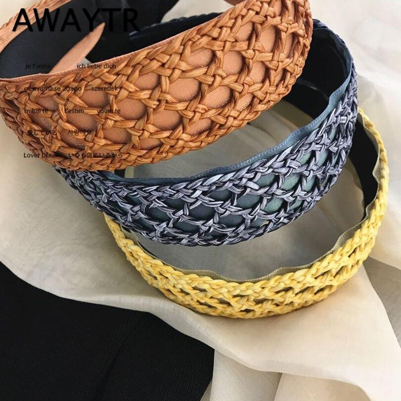 AWAYTR Vintage Handmade Braided Hairband Bohemian Headband For Women  Spring Summer Hair Hoop Elegant Hairband Hair Accessories