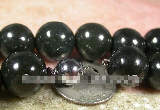 918 +++ จีน 100% ธรรมชาติ 12 มม.สีดำหยกลูกปัดสร้อยคอ 24 นิ้ว