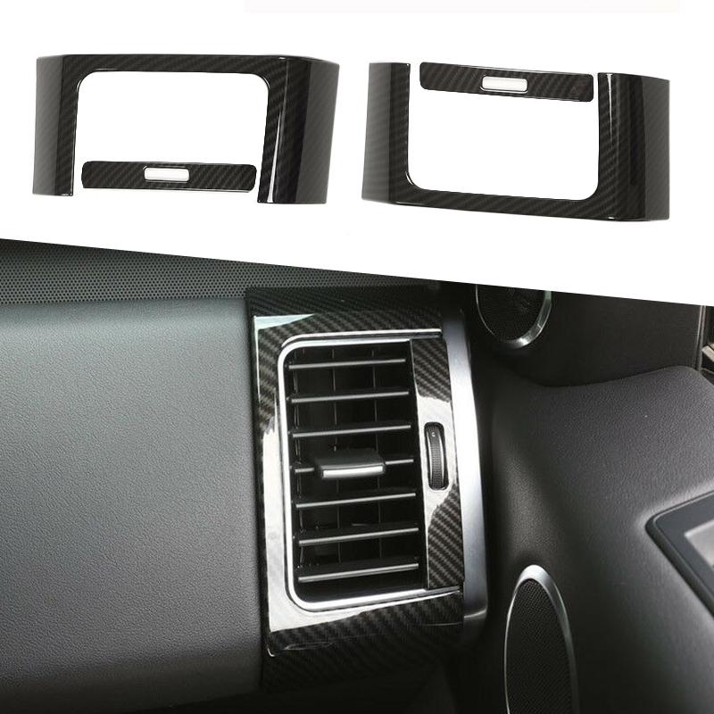 Carbon Fiber ABS Plastic Inner Side Air Conditioning Outlet Vent Frame Cover Trim For RR Sport 2014-2017