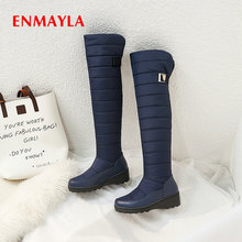 ENMAYLA 2019 Winter Shoes Women Down Snow Boots Round Toe Warm Plush Over The Knee Square Heel 34-43