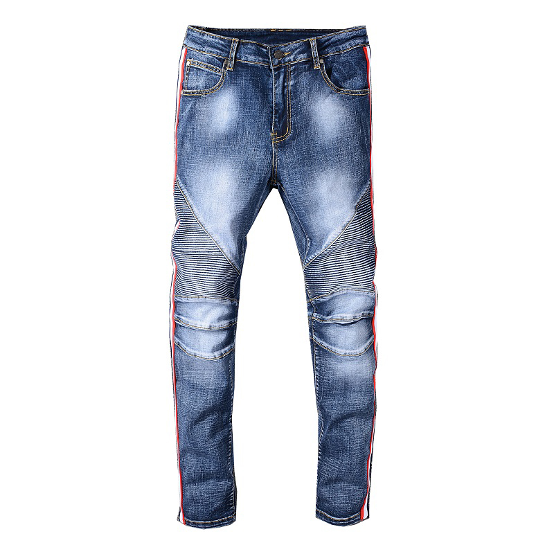 Sokotoo Men's Flag Lines Patchwork Biker Jeans For Motorcyle Slim Fit Blue Stretch Denim Pants
