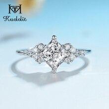 Kuololit 14K 585 białe złoto Moissanite pierścionki dla kobiet Lab Grown Square Cut Gorgeous diamentowe wesele elegancka biżuteria zaręczynowa