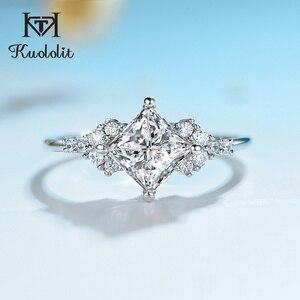 Image 1 - Kuololit 14K 585 białe złoto Moissanite pierścionki dla kobiet Lab Grown Square Cut Gorgeous diamentowe wesele elegancka biżuteria zaręczynowa