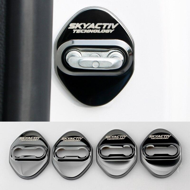 4pcs Stainless Steel Car Styling Door Lock Cover For Mazda 2 3 6 Demio CX3 CX-5 CX5 CX 5 CX7 CX9 MX5 Axela ATENZA 2017 2018 2019
