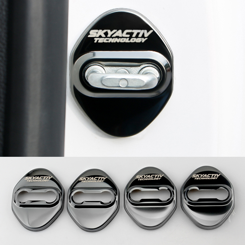 4pcs Stainless Steel Car styling Door Lock Cover For <font><b>Mazda</b></font> 2 3 6 Demio CX3 CX-5 CX5 CX 5 CX7 <font><b>CX9</b></font> MX5 Axela ATENZA <font><b>2017</b></font> 2018 2019 image